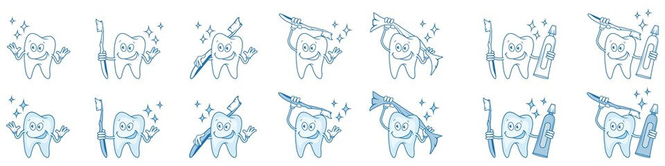cartoon smiling tooth, prevention of tooth cleaning, cartoon tooth standing in a different pose, vector artwork