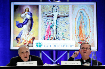 Cardinal Daniel DiNardo holds a press conference at the USCCB in Baltimore
