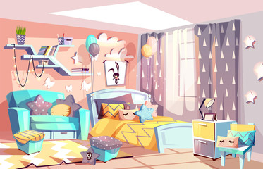 Kid girl room or bedroom interior vector illustration of modern cozy Scandinavian furniture style. Cartoon bed and sofa with pillows, blanket and toys on carpet, stars on pink wall and balloons