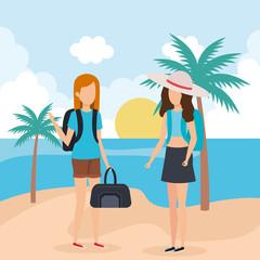 Travel girls on beach
