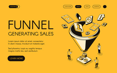Funnel generating sales vector illustration for digital marketing and e-business technology. Trade and commerce for money profit in isometric black thin line web design on yellow halftone background