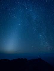 Milky Way galaxy over mountains, Kauai, Hawaii Islands, USA