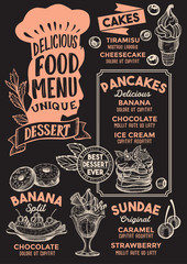 Dessert food menu template for restaurant with chefs hat lettering.