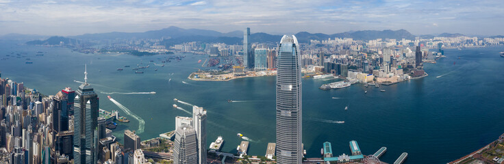 Panoramic shot of Hong Kong business tower