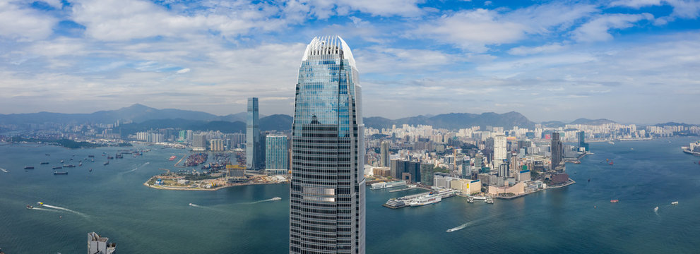 Panoramic shot of Hong Kong business office tower