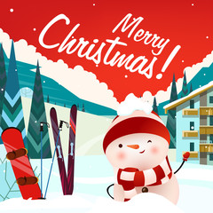 Merry Christmas lettering and snowman at ski resort. Christmas greeting card or advertisement design. Handwritten text, calligraphy. For leaflets, brochures, invitations, posters or banners.