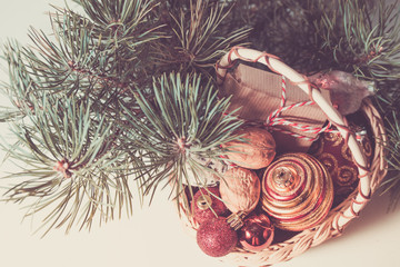 Christmas card composition with christmas festive decoration. retro style toned photo.