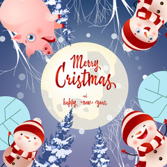 Merry Christmas lettering on circle with pig and snowmen. Christmas greeting card. Handwritten text, calligraphy. For leaflets, brochures, invitations, posters or banners.