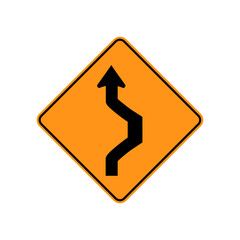 USA traffic road sign. double reverse curve, starting with a right curve. vector illustration