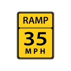 USA traffic road sign. slow down ,maximum advised speed speed in 35 mph in ideal conditions . vector illustration