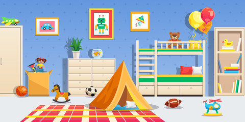 Children Room Interior Horizontal Illustration