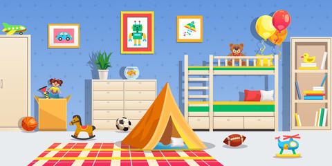 Children Room Interior Horizontal Illustration