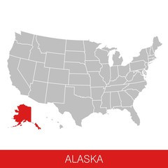 United States of America with the State of Alaska selected. Map of the USA vector illustration