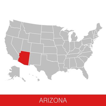 United States of America with the State of Arizona selected. Map of the USA vector illustration