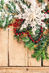 Christmas background, fir branches, snow, festive decor, snowflake