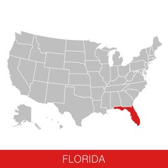 United States of America with the State of Florida selected. Map of the USA vector illustration