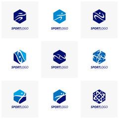 Set of Sport symbol design, Fitness people icon vector logo, speed fitness, running, swimming, jumping logotype, hexagon people