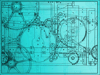 technical plan illustration gear machine industry on a gradient
