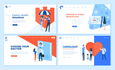 Web page design templates collection of health insurance, medical exam, doctor's choice, cardiology. Modern vector illustration concepts for website and mobile website development.