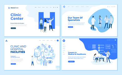 Web page design templates collection of clinic center, hospital facilities, medical career, team of doctors. Modern vector illustration concepts for website and mobile website development.