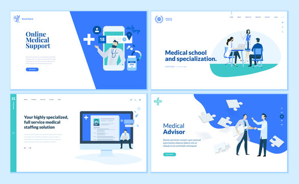 Web page design templates collection of online medical support, medical school and specialization, medical advisor. Modern vector illustration concepts for website and mobile website development.