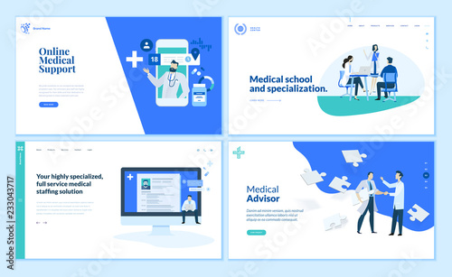 Web page design templates collection of online medical