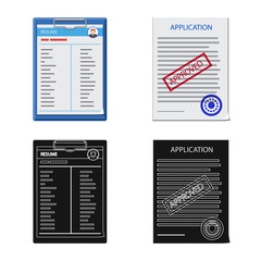 Vector illustration of form and document logo. Set of form and mark stock vector illustration.