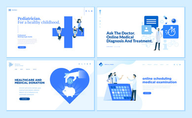 Web page design templates collection of pediatrician, online medical diagnosis and treatment, medical donation. Modern vector illustration concepts for website and mobile website development.