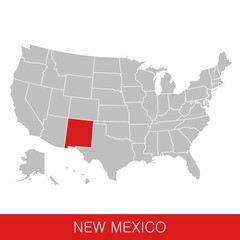 United States of America with the State of New Mexico selected. Map of the USA vector illustration