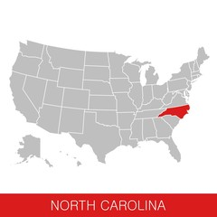 United States of America with the State of North Carolina selected. Map of the USA vector illustration
