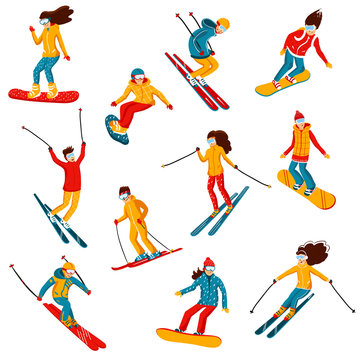 Vector skiers and snowboarders cartoon flat style. Men and women in the ski resort. Winter sport activity. Simple characters. Isolated on white background