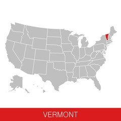 United States of America with the State of Vermont selected. Map of the USA vector illustration