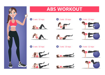 ABS workout for women. Exercise for perfect body