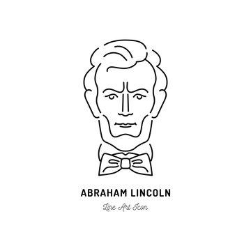 Abraham Lincoln Icon, USA President Icon. Line art design, Vector flat illustration