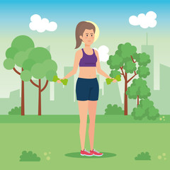 Woman weight dumbbells character