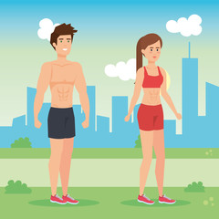 couple practicing exercise character
