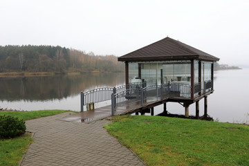 Pavilion on bank of Zaslavsky reservoir Wall mural