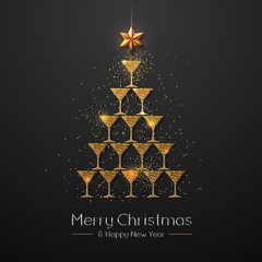 Christmas poster with golden champagne glass. Golden Christmas tree
