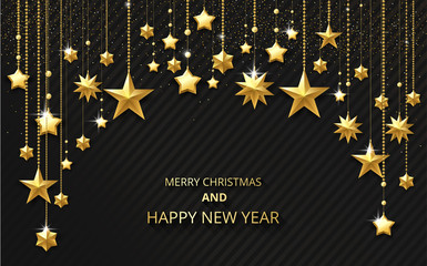 Merry Christmas and Happy New Year greeting card with golden shiny stars.