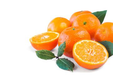 Mandarins with copy space for text. Ripe and tasty tangerines on white background. Clementines on a white background. Background tangerines.
