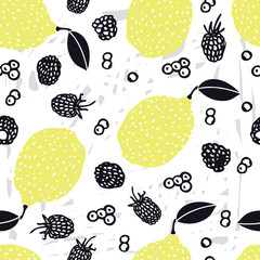 Food collection Lemons Hand drawn Blueberry and blackberries Seamless pattern