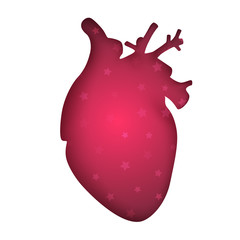 Medical heart - paper illustration on the grey background. Vector eps 10.