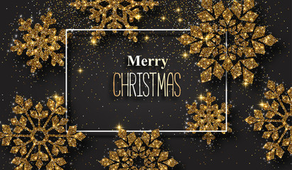 Merry Christmas poster with beautiful golden shiny snowflakes.