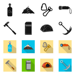 Isolated object of mountaineering and peak icon. Set of mountaineering and camp stock vector illustration.