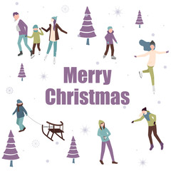 White Merry Christmas card with happy people and winter activities.