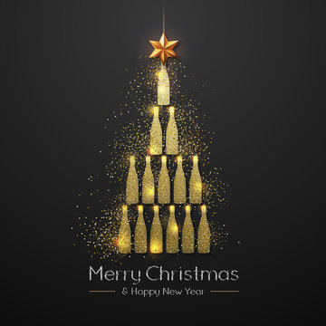 Christmas poster with golden champagne bottle. Golden Christmas tree on black background