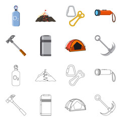 Vector design of mountaineering and peak symbol. Collection of mountaineering and camp stock symbol for web.