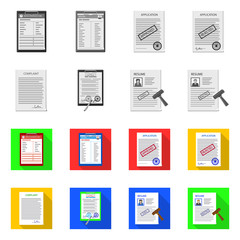 Vector design of form and document icon. Collection of form and mark stock vector illustration.