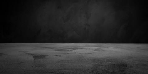 Dark room concrete background. Black wall and floor interior background with copy space
