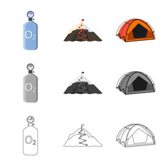 Vector design of mountaineering and peak sign. Set of mountaineering and camp stock vector illustration.
